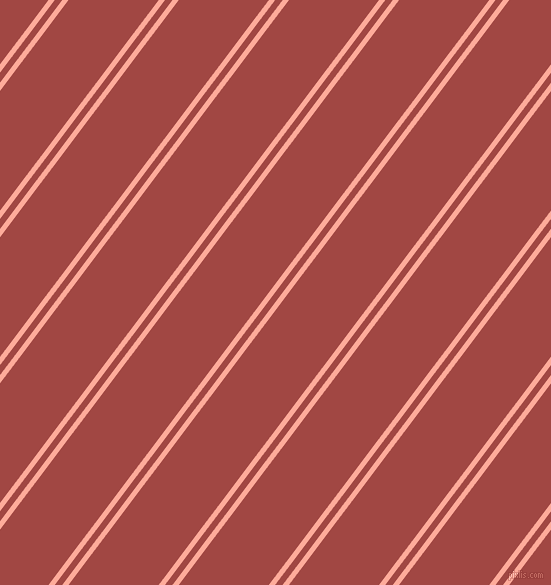 53 degree angles dual stripe lines, 5 pixel lines width, 6 and 72 pixels line spacing, Rose Bud and Roof Terracotta dual two line striped seamless tileable