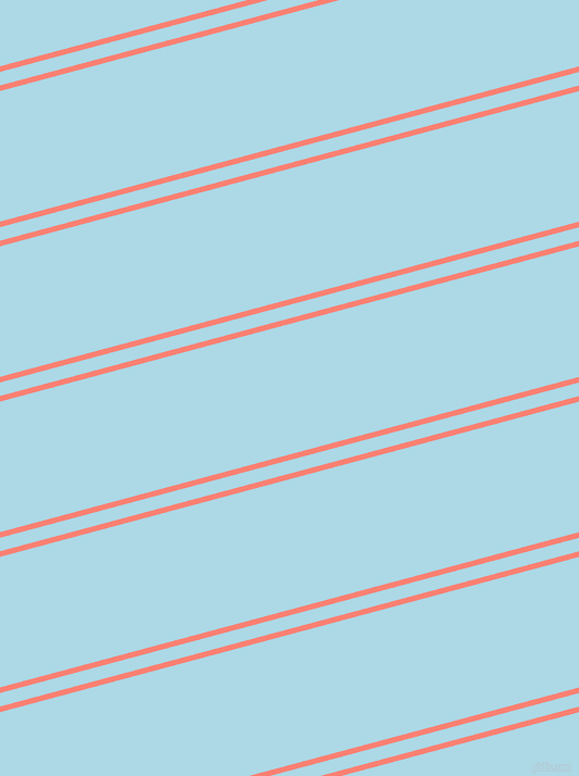 15 degree angles dual striped lines, 5 pixel lines width, 12 and 116 pixels line spacing, Salmon and Light Blue dual two line striped seamless tileable
