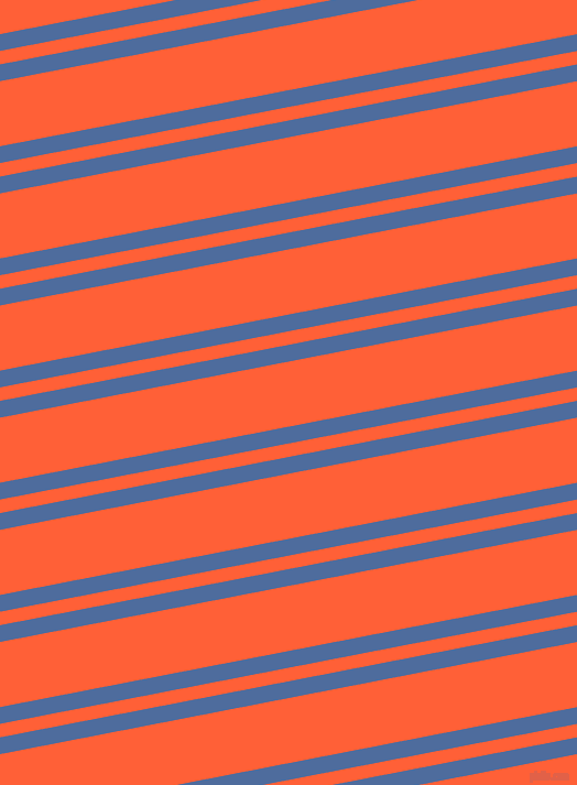 11 degree angle dual stripe lines, 15 pixel lines width, 12 and 58 pixel line spacing, San Marino and Outrageous Orange dual two line striped seamless tileable