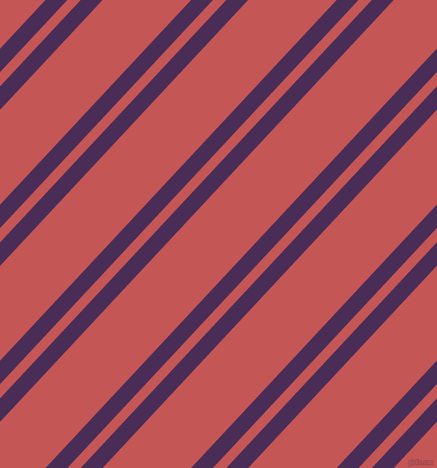 47 degree angles dual stripes line, 23 pixel line width, 14 and 93 pixels line spacing, Scarlet Gum and Fuzzy Wuzzy Brown dual two line striped seamless tileable