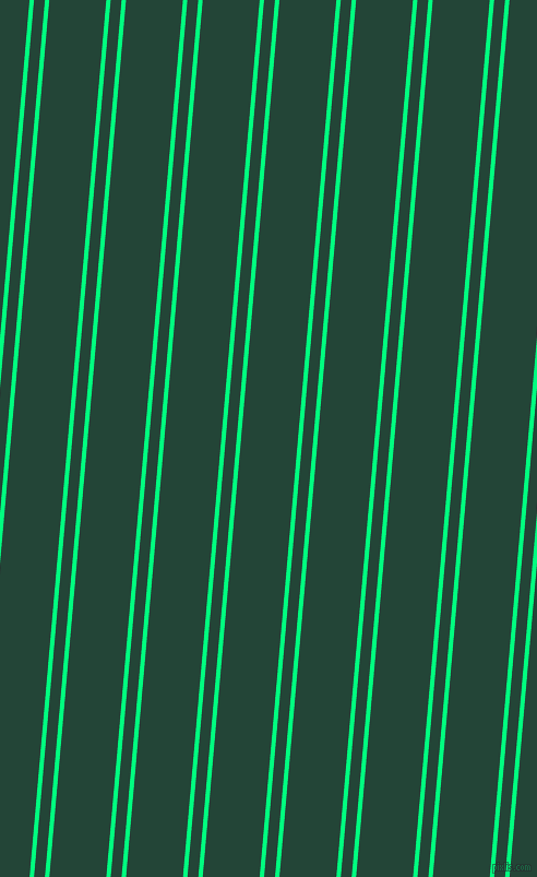 85 degree angle dual stripe line, 4 pixel line width, 10 and 52 pixel line spacing, Spring Green and Burnham dual two line striped seamless tileable