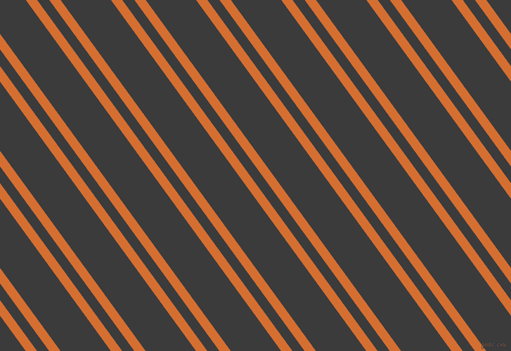 126 degree angle dual stripe line, 13 pixel line width, 14 and 58 pixel line spacing, Tango and Fuscous Grey dual two line striped seamless tileable