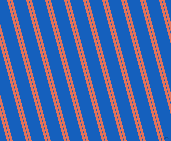 105 degree angle dual stripe lines, 10 pixel lines width, 2 and 50 pixel line spacing, Terra Cotta and Denim dual two line striped seamless tileable