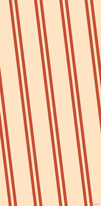 97 degree angle dual stripes line, 12 pixel line width, 10 and 68 pixel line spacing, Trinidad and Bisque dual two line striped seamless tileable
