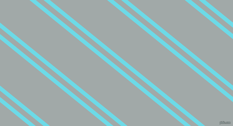 141 degree angle dual stripes lines, 13 pixel lines width, 16 and 118 pixel line spacing, Turquoise Blue and Hit Grey dual two line striped seamless tileable