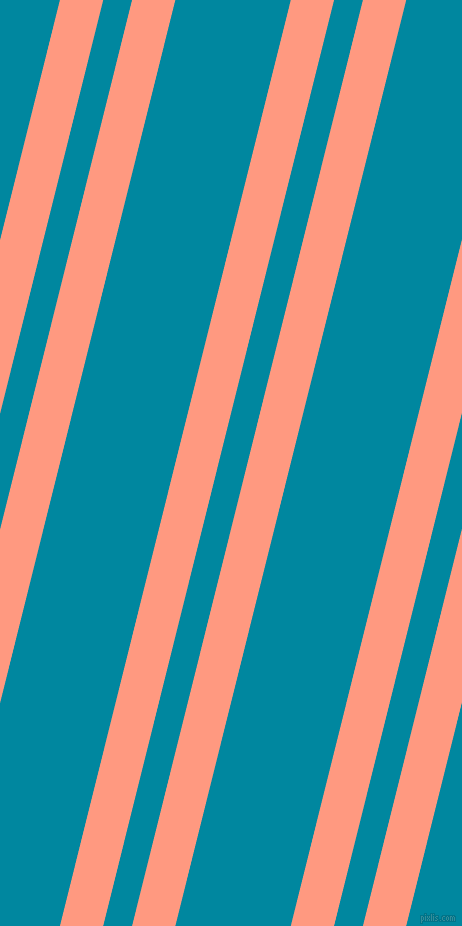 76 degree angles dual stripe line, 42 pixel line width, 28 and 112 pixels line spacing, Vivid Tangerine and Eastern Blue dual two line striped seamless tileable
