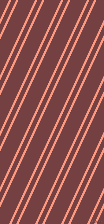 65 degree angles dual stripes lines, 7 pixel lines width, 14 and 49 pixels line spacing, Vivid Tangerine and Tosca dual two line striped seamless tileable