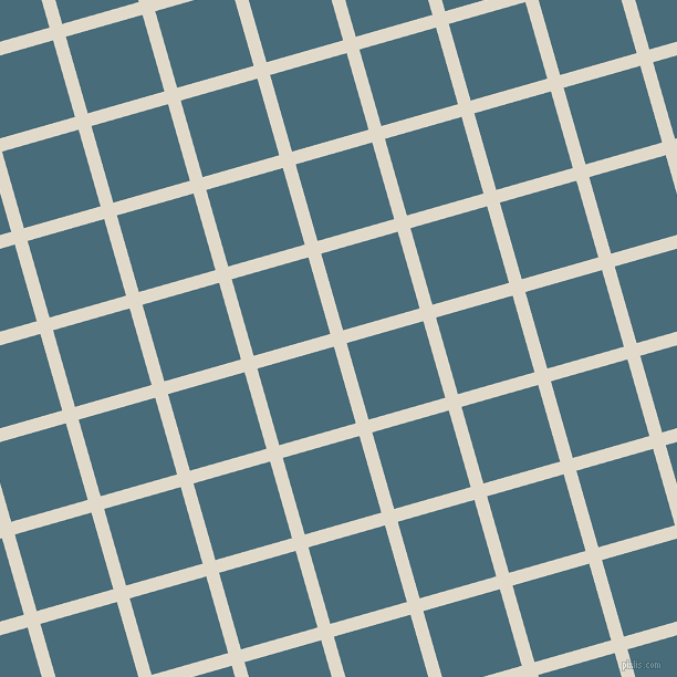 16/106 degree angle diagonal checkered chequered lines, 12 pixel lines width, 72 pixel square size, Albescent White and Bismark plaid checkered seamless tileable