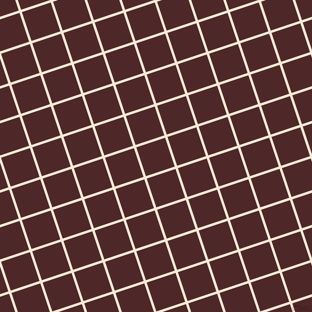18/108 degree angle diagonal checkered chequered lines, 5 pixel line width, 61 pixel square size, Antique White and Volcano plaid checkered seamless tileable