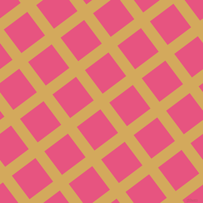 37/127 degree angle diagonal checkered chequered lines, 37 pixel lines width, 98 pixel square size, Apache and Dark Pink plaid checkered seamless tileable