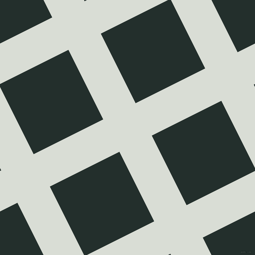 27/117 degree angle diagonal checkered chequered lines, 122 pixel line width, 262 pixel square size, Aqua Haze and Racing Green plaid checkered seamless tileable