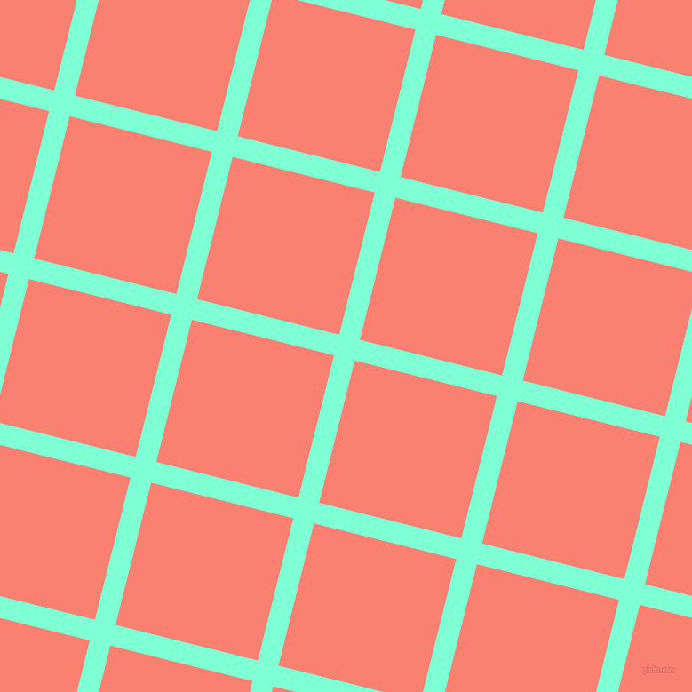 76/166 degree angle diagonal checkered chequered lines, 24 pixel line width, 165 pixel square size, Aquamarine and Salmon plaid checkered seamless tileable