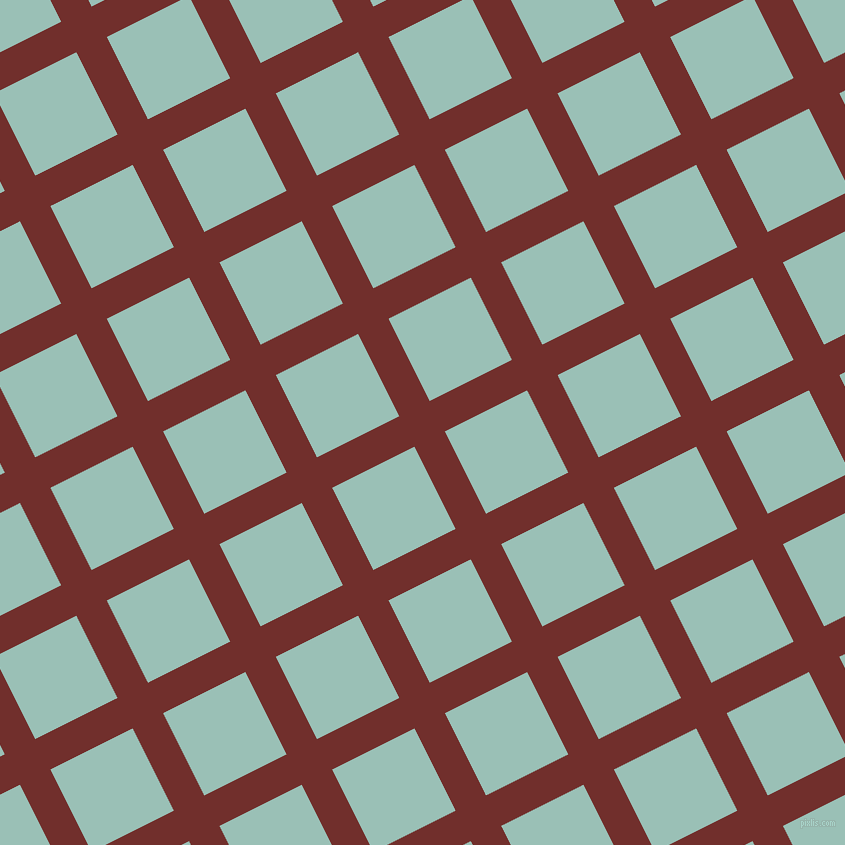27/117 degree angle diagonal checkered chequered lines, 34 pixel lines width, 92 pixel square size, Auburn and Shadow Green plaid checkered seamless tileable