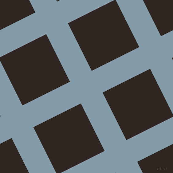 27/117 degree angle diagonal checkered chequered lines, 79 pixel lines width, 173 pixel square size, Bali Hai and Wood Bark plaid checkered seamless tileable