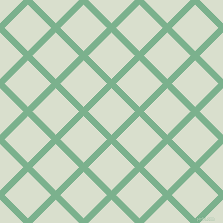 45/135 degree angle diagonal checkered chequered lines, 13 pixel line width, 66 pixel square size, Bay Leaf and Gin plaid checkered seamless tileable