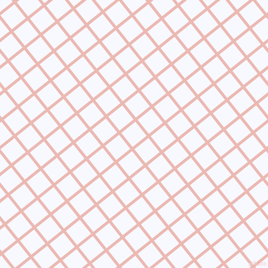 39/129 degree angle diagonal checkered chequered lines, 6 pixel line width, 37 pixel square size, Beauty Bush and Ghost White plaid checkered seamless tileable