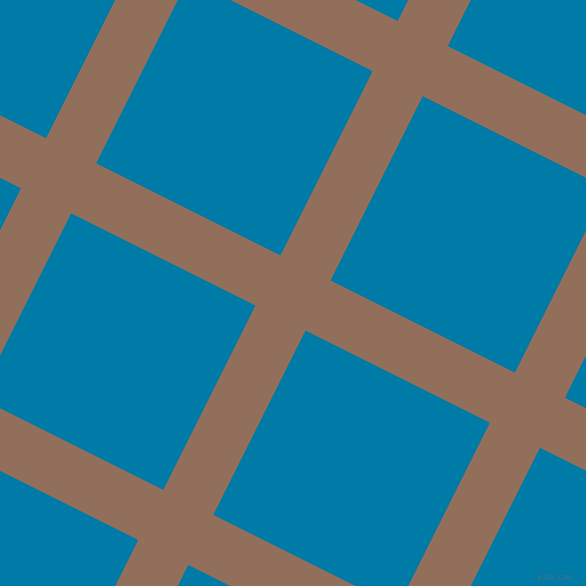 63/153 degree angle diagonal checkered chequered lines, 56 pixel line width, 206 pixel square size, Beaver and Cerulean plaid checkered seamless tileable