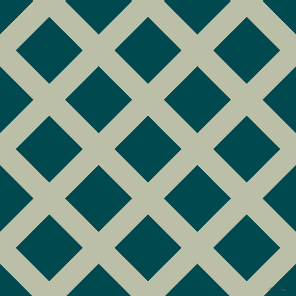 45/135 degree angle diagonal checkered chequered lines, 44 pixel lines width, 93 pixel square size, Beryl Green and Sherpa Blue plaid checkered seamless tileable