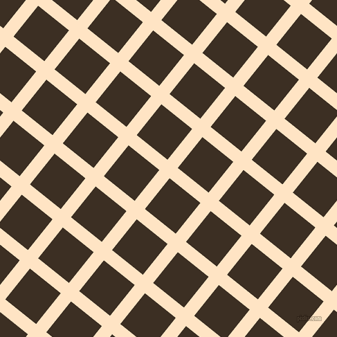 51/141 degree angle diagonal checkered chequered lines, 19 pixel line width, 57 pixel square size, Bisque and Cola plaid checkered seamless tileable