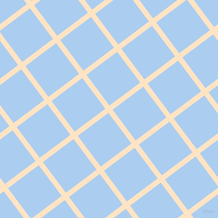 37/127 degree angle diagonal checkered chequered lines, 17 pixel line width, 125 pixel square size, Bisque and Pale Cornflower Blue plaid checkered seamless tileable