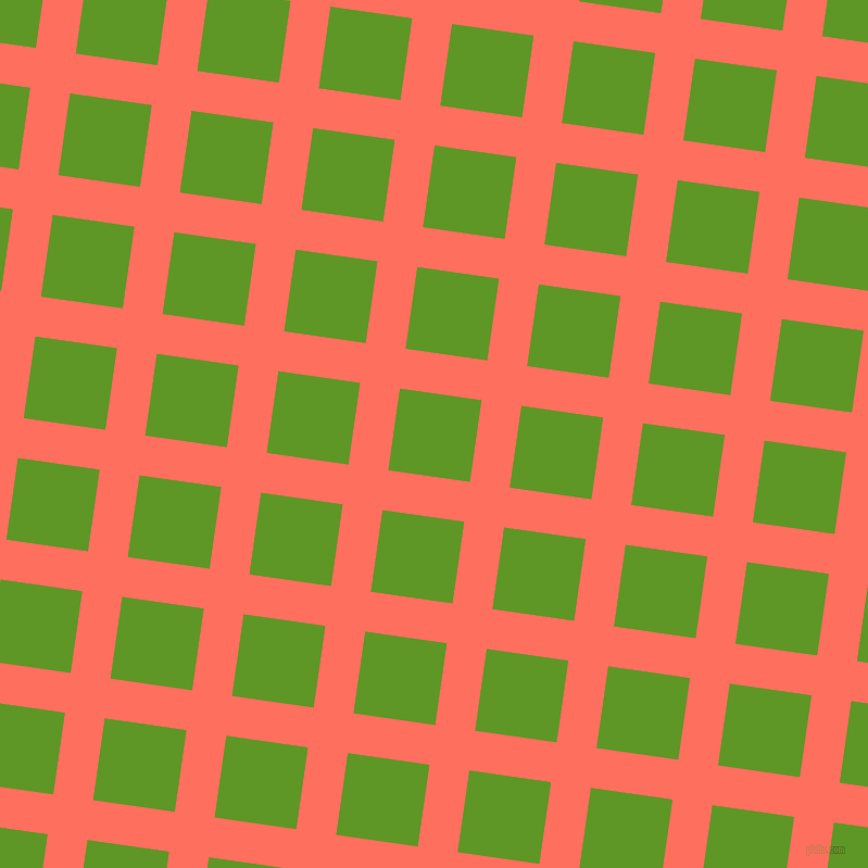 82/172 degree angle diagonal checkered chequered lines, 37 pixel lines width, 76 pixel square size, Bittersweet and Limeade plaid checkered seamless tileable