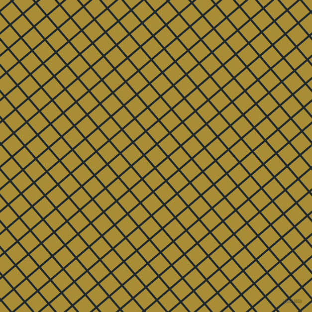 41/131 degree angle diagonal checkered chequered lines, 4 pixel line width, 30 pixel square size, Black Pearl and Reef Gold plaid checkered seamless tileable