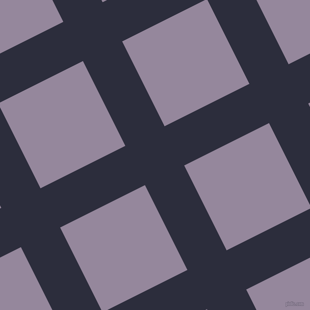 27/117 degree angle diagonal checkered chequered lines, 86 pixel line width, 186 pixel square size, Black Rock and Amethyst Smoke plaid checkered seamless tileable