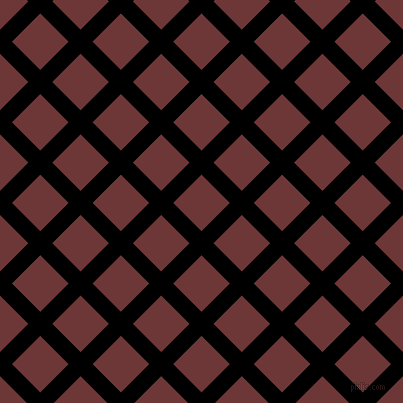 45/135 degree angle diagonal checkered chequered lines, 17 pixel lines width, 40 pixel square size, Black and Sanguine Brown plaid checkered seamless tileable