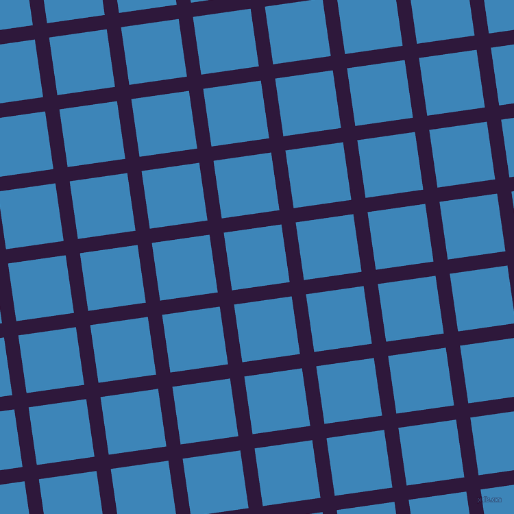 8/98 degree angle diagonal checkered chequered lines, 21 pixel lines width, 85 pixel square size, Blackcurrant and Curious Blue plaid checkered seamless tileable