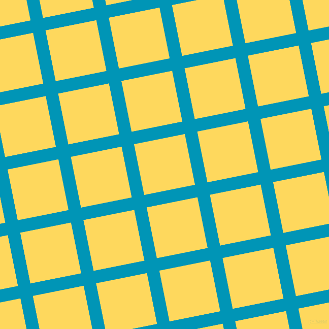 11/101 degree angle diagonal checkered chequered lines, 25 pixel line width, 102 pixel square size, Bondi Blue and Dandelion plaid checkered seamless tileable