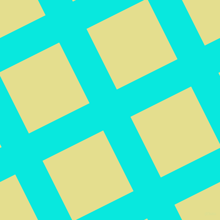 27/117 degree angle diagonal checkered chequered lines, 98 pixel line width, 218 pixel square size, Bright Turquoise and Primrose plaid checkered seamless tileable
