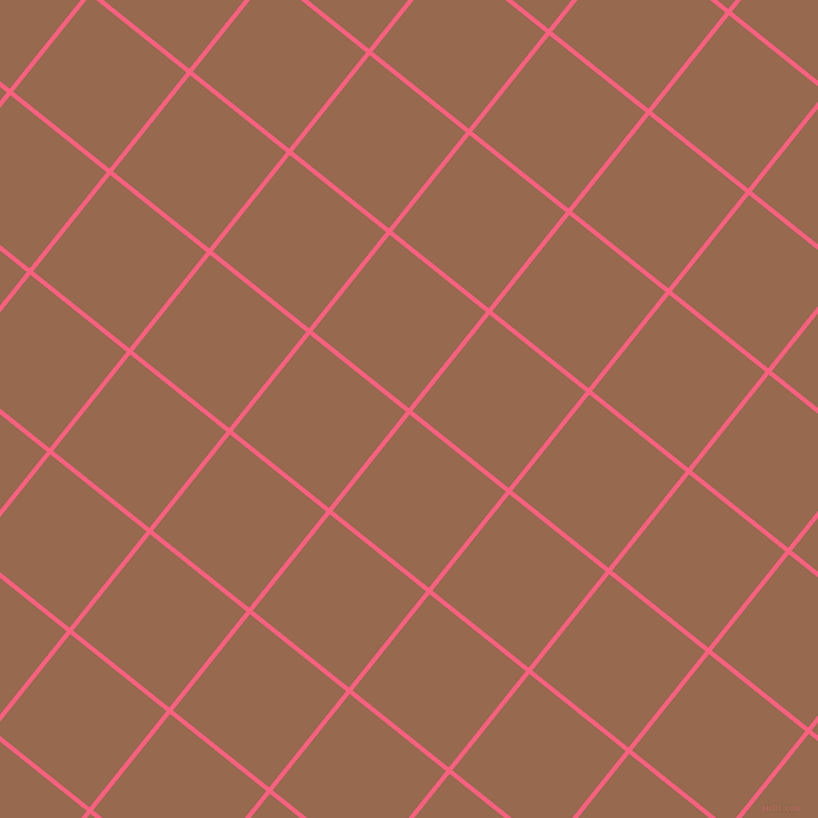 51/141 degree angle diagonal checkered chequered lines, 4 pixel lines width, 111 pixel square size, Brink Pink and Dark Tan plaid checkered seamless tileable
