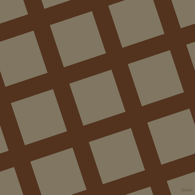 18/108 degree angle diagonal checkered chequered lines, 56 pixel line width, 145 pixel square size, Brown Bramble and Stonewall plaid checkered seamless tileable