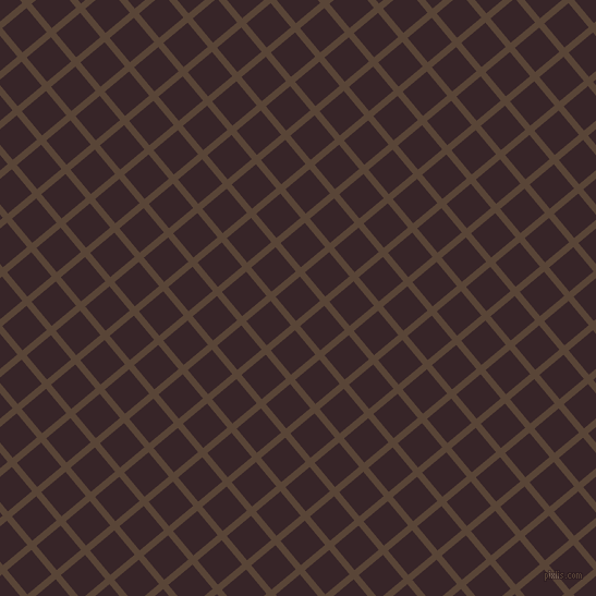 40/130 degree angle diagonal checkered chequered lines, 6 pixel line width, 29 pixel square size, Brown Derby and Aubergine plaid checkered seamless tileable