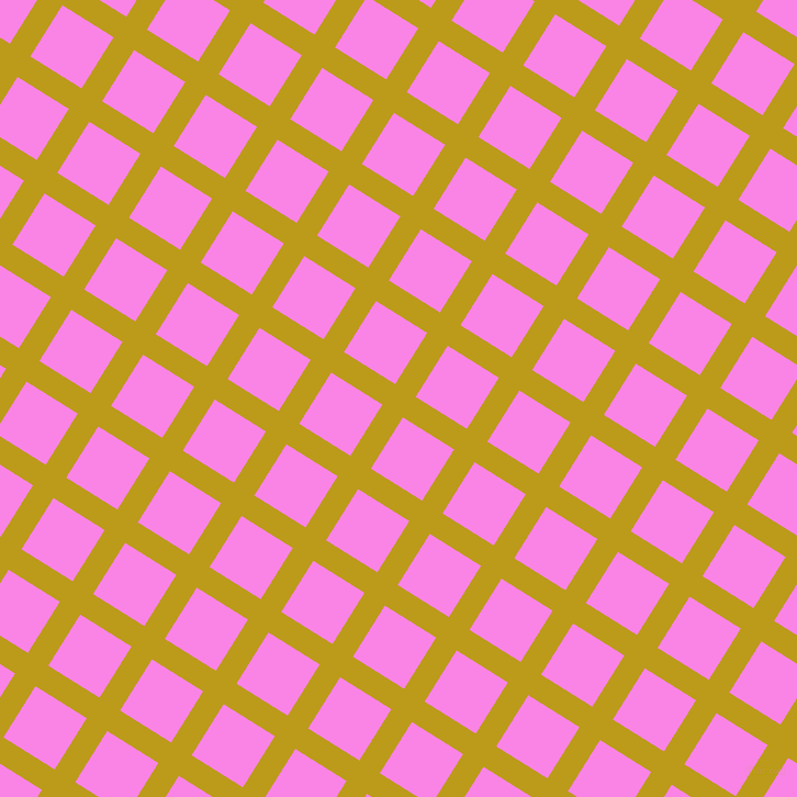 58/148 degree angle diagonal checkered chequered lines, 22 pixel line width, 55 pixel square size, Buddha Gold and Pale Magenta plaid checkered seamless tileable