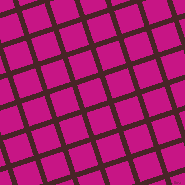 18/108 degree angle diagonal checkered chequered lines, 18 pixel line width, 83 pixel square size, Bulgarian Rose and Medium Violet Red plaid checkered seamless tileable
