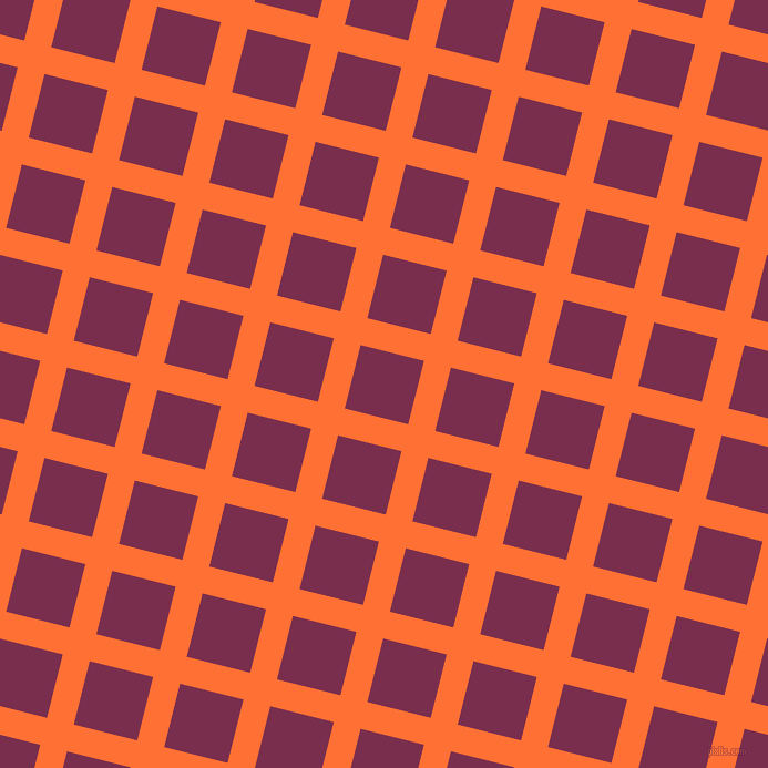 76/166 degree angle diagonal checkered chequered lines, 25 pixel lines width, 59 pixel square size, Burnt Orange and Flirt plaid checkered seamless tileable
