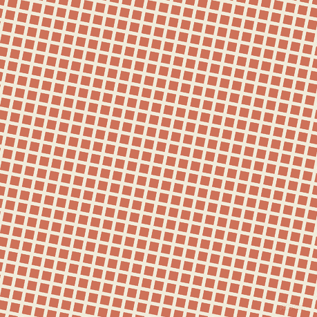 79/169 degree angle diagonal checkered chequered lines, 5 pixel lines width, 13 pixel square size, Buttery White and Japonica plaid checkered seamless tileable