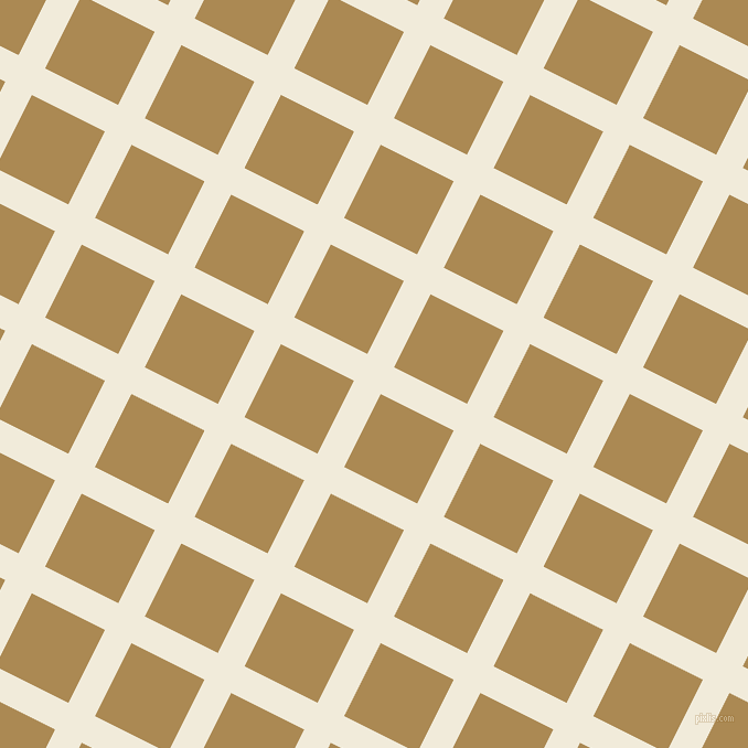 63/153 degree angle diagonal checkered chequered lines, 27 pixel line width, 74 pixel square size, Buttery White and Teak plaid checkered seamless tileable