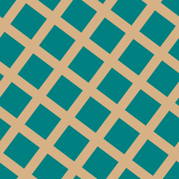 53/143 degree angle diagonal checkered chequered lines, 33 pixel lines width, 90 pixel square size, Calico and Teal plaid checkered seamless tileable