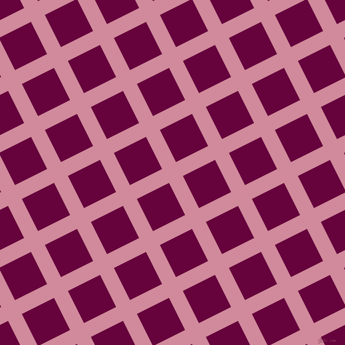 27/117 degree angle diagonal checkered chequered lines, 31 pixel line width, 72 pixel square size, Can Can and Tyrian Purple plaid checkered seamless tileable