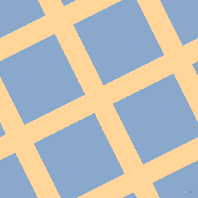 27/117 degree angle diagonal checkered chequered lines, 68 pixel lines width, 223 pixel square size, Caramel and Polo Blue plaid checkered seamless tileable