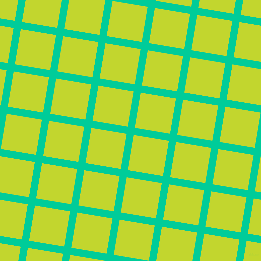 81/171 degree angle diagonal checkered chequered lines, 29 pixel lines width, 142 pixel square size, Caribbean Green and Fuego plaid checkered seamless tileable