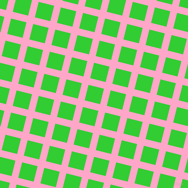 76/166 degree angle diagonal checkered chequered lines, 24 pixel lines width, 55 pixel square size, Carnation Pink and Lime Green plaid checkered seamless tileable