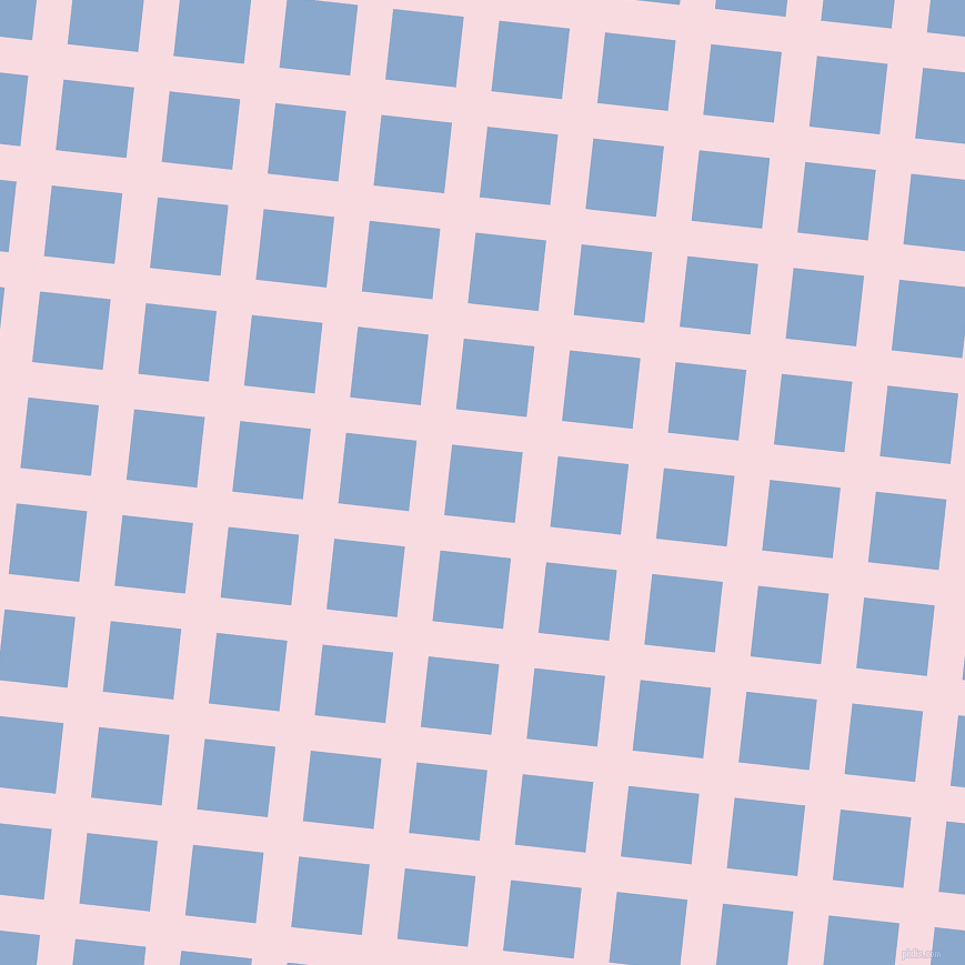 84/174 degree angle diagonal checkered chequered lines, 32 pixel lines width, 64 pixel square size, Carousel Pink and Polo Blue plaid checkered seamless tileable