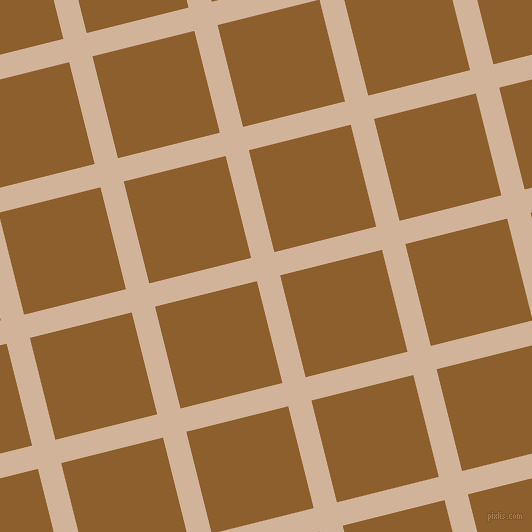 14/104 degree angle diagonal checkered chequered lines, 24 pixel line width, 105 pixel square size, Cashmere and Rusty Nail plaid checkered seamless tileable