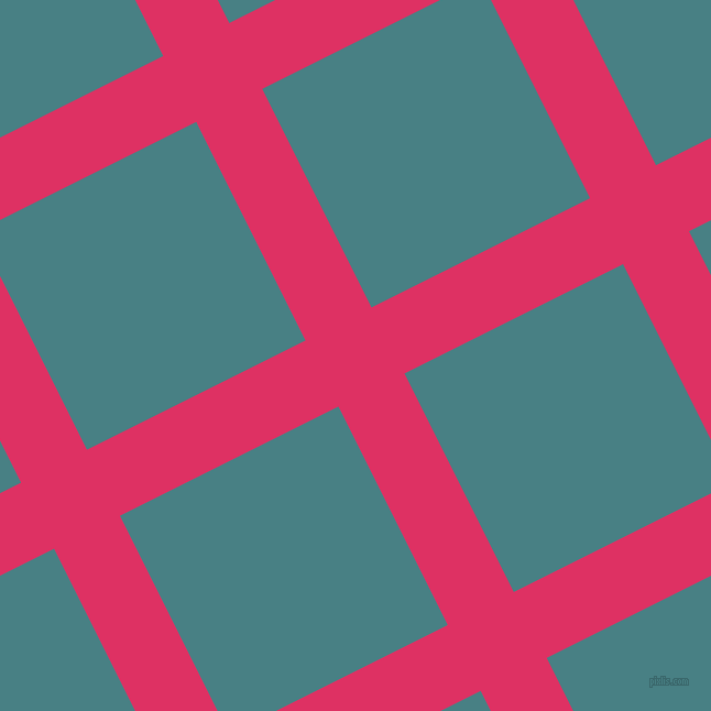 27/117 degree angle diagonal checkered chequered lines, 67 pixel line width, 222 pixel square size, Cerise and Paradiso plaid checkered seamless tileable