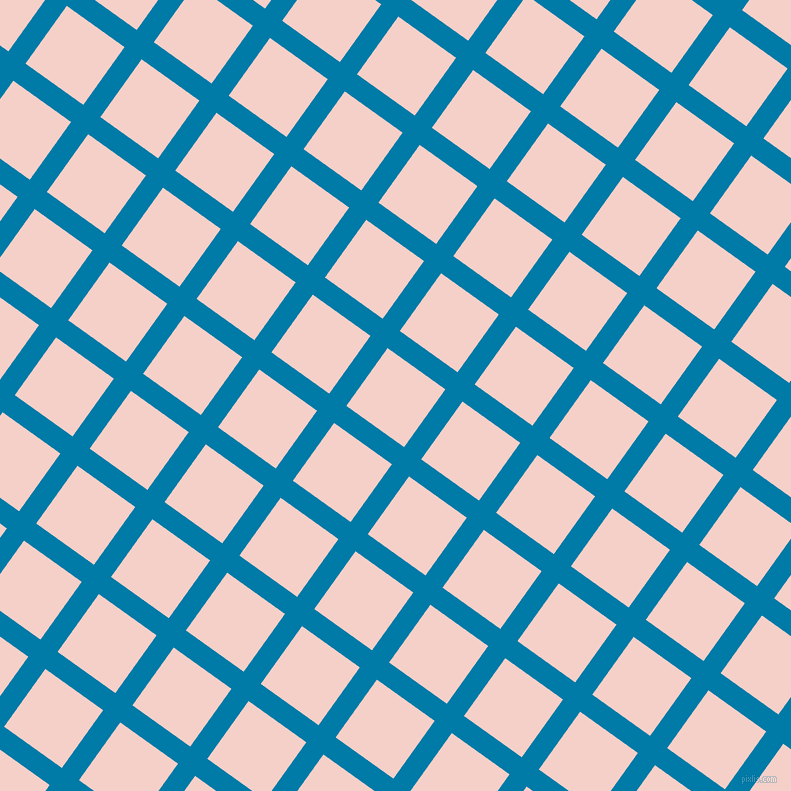 54/144 degree angle diagonal checkered chequered lines, 21 pixel line width, 71 pixel square size, Cerulean and Coral Candy plaid checkered seamless tileable