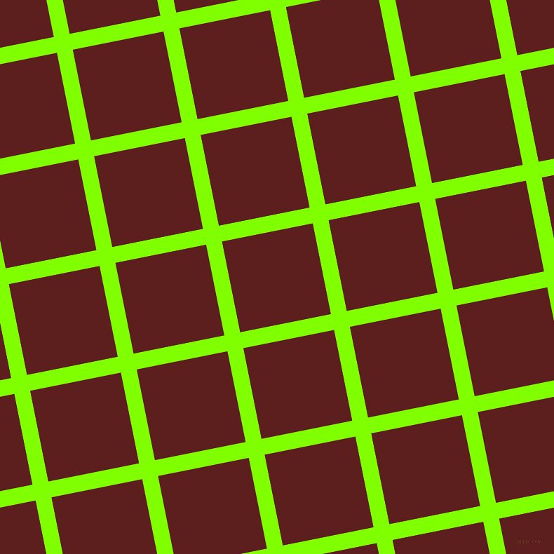 11/101 degree angle diagonal checkered chequered lines, 23 pixel line width, 132 pixel square size, Chartreuse and Red Oxide plaid checkered seamless tileable