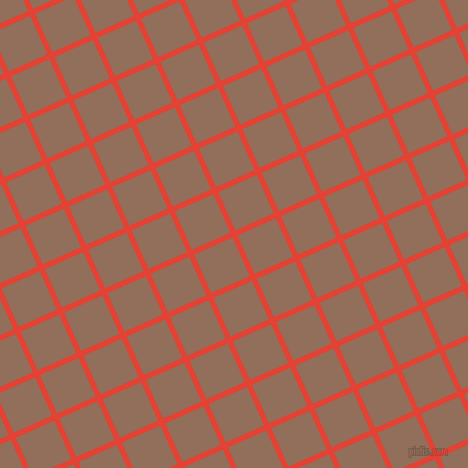 24/114 degree angle diagonal checkered chequered lines, 5 pixel lines width, 38 pixel square size, Cinnabar and Beaver plaid checkered seamless tileable